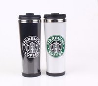 Wholesale Stainless Steel Thermos Free Shipping - 2015 Starbucks Double Wall Coffee Mug Fashion Cup One Choose Cup Black Starbucks Cups in stock Free shipping thermos