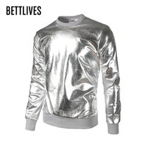 Wholesale Gold Metallic Shorts - Wholesale- Brand Fashion Designer Men's Metallic Gold Shinny Hoodie Sweatshirts Party Nightclub Styles Loose Sexy Pullover Hoodies A311