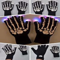 Wholesale Skulls Mode - Fashion Novel LED Skull Gloves 7 Mode Light LED Gloves Rave Finger Lighting Flashing Glow Mittens Halloween gloves Noctilucent gloves
