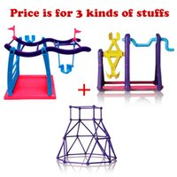 Wholesale Swings For Kids - Swing + Fitness frame + Seesaw Stents Plastic Fingerling Accessories Swing Pole Baby Toys For Kids Christmas Gifts OPP Pack ePacket