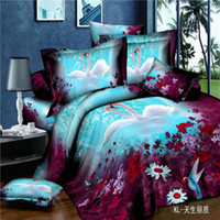 Wholesale Swan Duvet - Wholesale-home textile ,marvelous 3d bed linen swans print queen size duvet cover bed sheet pillow cases bedding set