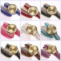 Wholesale Hand Woven Belts - 2015 New Fashion GENEVA brand Women pu Leather with crystal strap Watch Hand-woven bracelet Quartz dress Wristwatch 9 Colors