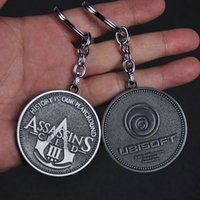 Wholesale Assassins Creed Key - New Creative Gifts Online Assassin Creed Silver Coins Zinc alloy Key Chain Keychain Car Pendant D-218