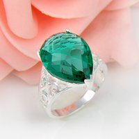 Cheap Wholesale 2pcs / lot Pear-Shaped Green Quartz Gemstone .925 Sterling Silver Flower Ring México American Australia Weddings Jóias Gift