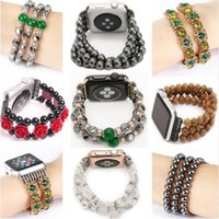Wholesale wood diamonds for sale - Group buy Handmade Agate Hematite Pearl Diamond Jewelry Wood Band for Apple Watch mm mm mm Wrist Strap Flexible Strectch Spiral Cord
