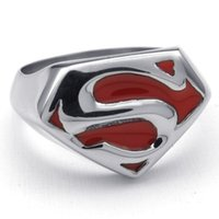Wholesale Wholesale Jewelry Cast - 316L Stainless Steel Cool Silver Red Superman Man of Steel Ring High Quality Casting Jewelry Best Gifts