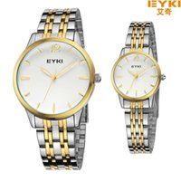 Wholesale Eyki Pair - 2015 EYKI Lovers Watch Pair Gift for Boy Or Girl Fashion Watches Top Brand Luxury Full Steel Couples Wristwatches Quartz Analog