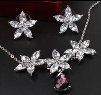 pendientes de gota de cristal 18k austriaco al por mayor-Nueva moda grande forma de flor gota de agua boda conjunto 18K plateado plata cristal austriaco collar pendientes conjunto de joyas para mujeres