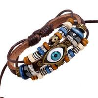 ingrosso migliori tacchini-Moda donna Gioielli Intrecciati corda migliore amico Turchia occhi fascino Infinity sintetico in pelle con perline braccialetto Multistrato