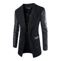 tranchée blazers achat en gros de-Vente en gros - Hommes Veste Blazer Trench Faux cuir Splice Open Stitch Manteau Manteau Outwear Nouvelle Arrivée 0783