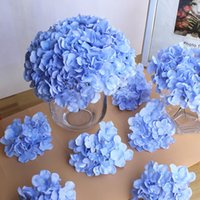 Calidad Hydrangea Wholesale Big Flower cabeza 15 cm de seda blanco Hydrangeas Bouquet para Wedding Centerpieces fiesta en casa decorativo