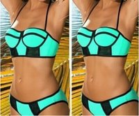 Wholesale Neon Padded Bikinis - 2015 New Women Topmelon Swimwears Neoprene Neon Triangle Padded Push Up High Quality Bikinis Set Brazilian Swimsuit Bathing Suits XS