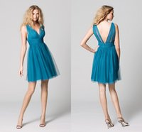Wholesale Cheap Sexy Mini Wedding Dresses - Turquoise Bridesmaid Dresses 2015 Cheap Tulle Short Maid of Honor Dresses Sexy A Line V Neck Zipper Back Beach Summer Beach Wedding Gowns