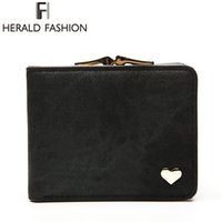 Wholesale Cars Jeans - Wholesale- Herald Fashion Heart Short Women's Wallet Clips Jeans Fabric Female Cute Small Solid Clutch Coin Purse Car Holder