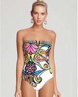 Wholesale Designer Monokini Swimwear - 2016 Sexy Womens One Piece Print Floral Swimwear Monokini Bohemian Vintage Digital Printed Designer Swimsuit Backless One-Piece Bathing Suit