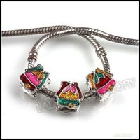 Wholesale 36pcs New Assorted Enamel Alloy Christmas Jingle Bell Charms Beads Fit European Bracelets mm