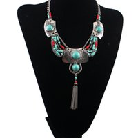 Wholesale Turkey Turquoise Beads Wholesale - European Turkey style silver gold plated alloy Turquoise beads Carving resin tassels necklace