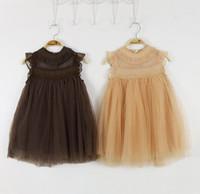 Wholesale Gauze Clothing Wholesale - 2016 Summer New Girl Dress Lace Princess Dress Girl Gauze Sundress Children Clothing 2-7T 8686
