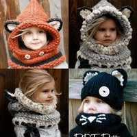Wholesale Lovely Wholesale Scarfs - Lovely Fashion Fox Ear Cat Winter Windproof Hats And Scarf Set For Kids Crochet Headgear Soft Warm Hat Baby Winter Beanies 1-10 Years