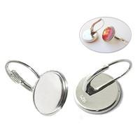 Wholesale Earring Lever Back Set - Beadsnice Sterling Silver Earring Bezel Settings Lever Back Earring Setting for Cabochon and Resin Inner Diameter 11 mm ID 27369