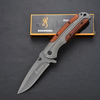 herramientas manejadas al por mayor-Browning DA43 Cuchillo plegable 3Cr13 Hoja Mango de palisandro Cuchillo táctico de titanio Herramienta de camping de bolsillo Cuchillo de caza abierto rápido Cuchillo de supervivencia