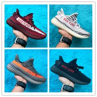 Wholesale Shoes Words - 2017 SPLY-350 Boost V2 New Kanye West Boost 350 V2 SPLY Running Shoes Pirate Black Red Words SPLY350 Free Shipping size 36-46