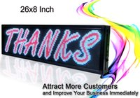 Wholesale Led Scrolling Sign Green - 26X8 inch LED advertising sign P5 indoor full color LED display scrolling text Red green blue white yellow and blue billboard