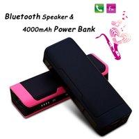 Wholesale Power Bass Portable Speaker - 2015 Xmas Bluetooth Mini Speaker & 4000mAh Power Bank Smartphone Charger USB TF Slot MP3 MP4 Player Stereo Hifi Super Bass Wireless Speakers