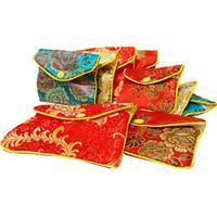 Wholesale Cheap Cute Small Bag - Cute Cheap Small Gift Bag Silk Brocade Jewelry Packaging Pouch Zipper Coin Purse Credit Card Holder Storage Pocket 8x10cm 10x12cm