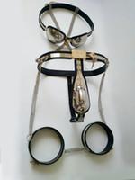tubo sujetador masculino al por mayor-Dispositivos de castidad masculina traje Cinturón de castidad en forma de T masculino + Manguitos del muslo + Butt Plug anal + Tubo de catéter + Sujetador de castidad Bondage Juguetes sexuales