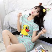 Wholesale Pajamas For Women Cheap - Wholesale- Yellow Duck Summer Cute Short Rabbit Milk Cotton Casual Nightwear Pajamas Pyjamas For Women Size M-XXL Cheap Clothes
