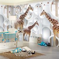 Wholesale Unique Giraffe - Unique 3D View Giraffe Photo Wallpaper Cute Animal Wall Mural Art Wall Decor Paper Children's room Nursery Living Room Office Free Shipping