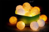 Wholesale Cotton Ball Lights Wholesale - LED Christmas Strings LED Cotton Ball String Lights 2.5M 20LEDs 4M 35leds LED Christmas Lights Festival Decorative Light String Color String