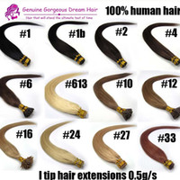 "Wholesale Extensions Bonds - 16""-24"" #613 I tip Hair Extensions Human platinum blonde tangle-free Pre bonded Keratin Hair 0.5g s 100s pack 7A Grade"