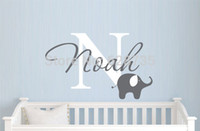 Wholesale Baby Boy Room Decals - Elephant with boys name wall decal - Custom Boys Name Vinyl Wall Sticker - Baby Nursery Wall Decal Elephant ,free shipping