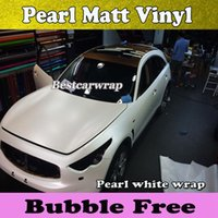 Wholesale Matte Chrome - Matte Chrome white Car wrap Vinyl Wrapping Film with air release Satin chrome white pearl film 1.52x20m Roll Free Shipping