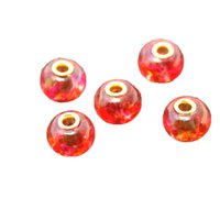 10 * 13 milímetros Orange + Rose 120pcs / lot Vidro Big Hole Loose Beads Fit Europeu Jóias Pulseira Charme DIY DH-BBD127-4