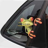 lastwagen heckscheibenabziehbilder großhandel-Mode 3D Stereo Tier Aufkleber nette lustige realistische Cartoon Frosch Auto Aufkleber LKW Fenster Vinyl Aufkleber Aufkleber