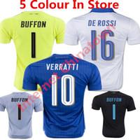 Wholesale Shirt Camicie - 2016 Italys Soccer Jersey 17 Italia Maglia Verratti Marchisio Maillot De Foot Italys Goalkeeper camicie Buffon Blue Football Shirt Euro cup