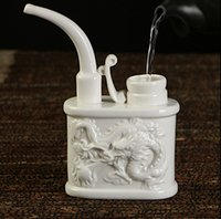 Wholesale chinese water pipes for sale - Group buy Hot sale white ceramic pipes ancient chinese style ceramic carving dragon healthy water pipe