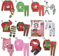 Wholesale Girls Sleepwear Hot - Hot Kids Babys Pajamas Long Sleeve Tshirt Pant suit Winter Christmas Deer Santa Printing Sleepwear Nightclothes For boys girls Kids clothing