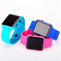 Wholesale Square Watch Silicone Led - Hot New Square Mirror Face Silicone Band LED Digital Watch Red LED Watches Quartz Wrist Watch Sport Clock Hours