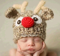 Wholesale knitted christmas hats for baby - Newborns Handmade Crochet Deer Horn Hat Cute Baby Deer Antler Knitting hat for Photo props Christmas gifts for 0-1T B11