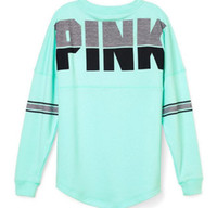 Wholesale Cotton Strapless Top - Women Hoodie Pink Letter Print Sweatshirt Knitted Long Sleeve Strapless Pullovers Polerones Mujer Harajuku Tops supreman