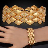 pulsera chapada en oro amarillo al por mayor-Grandes hombres pulseras 18 K oro amarillo plateado austriaco joyería de moda brazaletes de regalo para las mujeres al por mayor YH5142