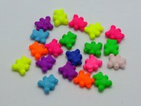 Wholesale Neon Fluorescent Beads - 200 Mixed Fluorescent Neon Acrylic Cute Bear Beads Charms 8X9mm Rubber Tone