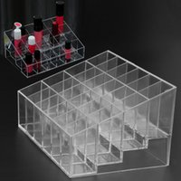 Wholesale Acrylic Makeup Case Organizer - 24 Grid Acrylic Makeup Organizer Storage Box Cosmetic Box Lipstick Jewelry Box Case Holder Display Stand make up organizer