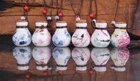 frascos de perfume vintage al por mayor-Aceite esencial collares difusores flor pequeña vial longitud ajustable colgante collar aromaterapia vintage deseando botella de perfume para el amante