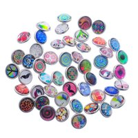 Wholesale Glass Imitation Beads - JACK88 100pcs lot 12 mm Mix Many Styles Glass Button Snap Jewelry Interchangeable Ginger Snap Button Charm N518