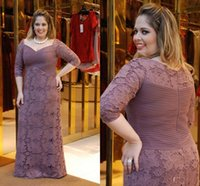 Wholesale Grey Silk Gown - 2015 Lace Plus Size Prom Dresses Sheath Women Grey 3 4 Long Sleeves Evening Gowns Scoop Floor Length Long Women Gowns